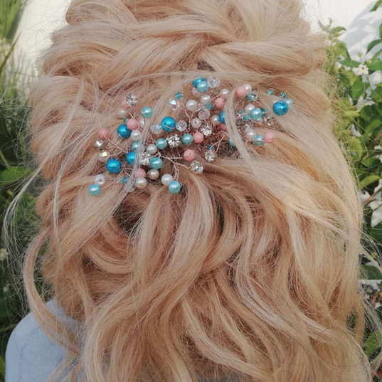 Bridal hair halfup twisted rope braids