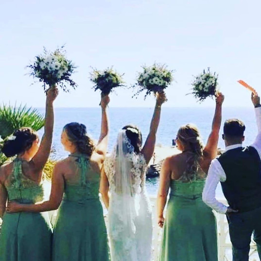 Bridal hair and bridesmaids