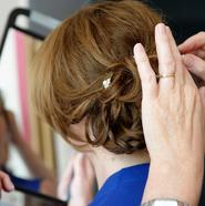 Bridal hair low casual bun