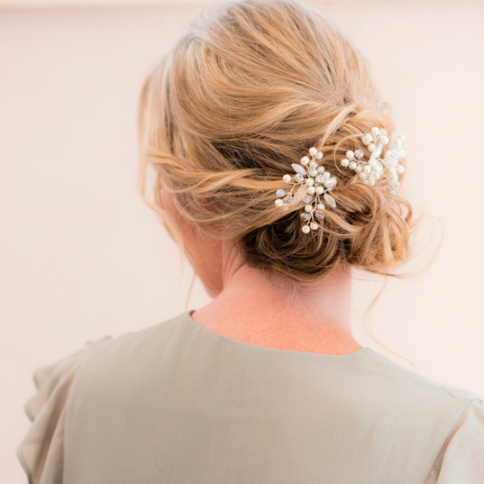 Bridal hair low textured bun