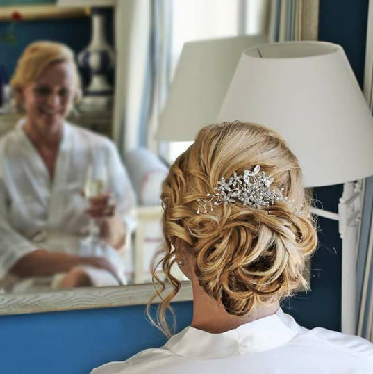 Bridal hairstyle low bun