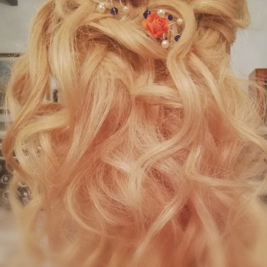 Bridal hair half up half down