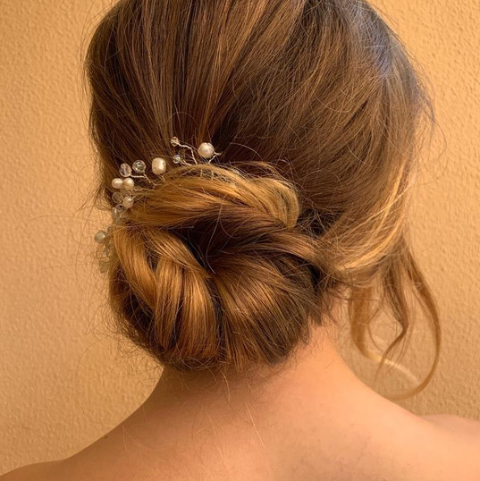 Bridesmaid hairstyle low bun