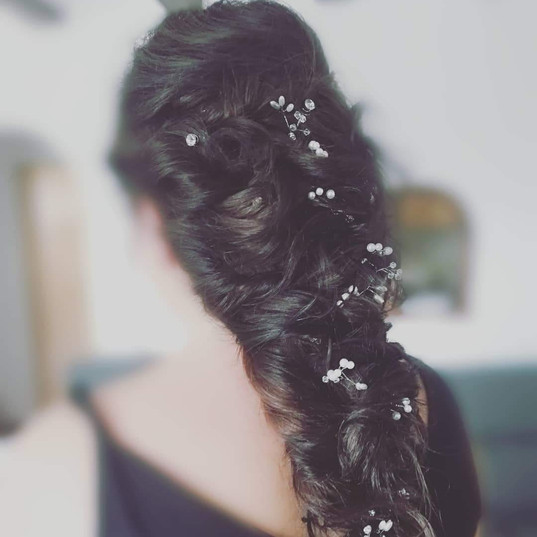 Bridal hair mermaid braid and hair vine
