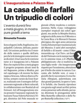 Il Giornale di Sicilia parla della casa delle farfalle