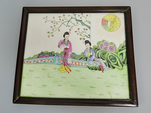A beautiful Chinese tile hand painted 19th century