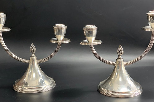 A pair of two-light candelabra portuguese silver