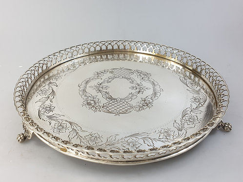 A pierced gallery salver portuguese silver