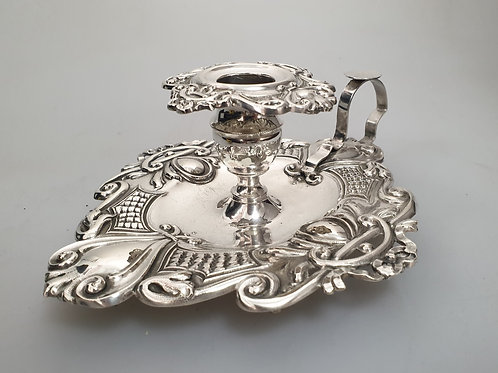 A portuguese sterling silver chamberstick