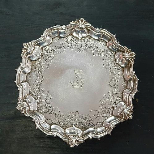 A salver 18th century silver.