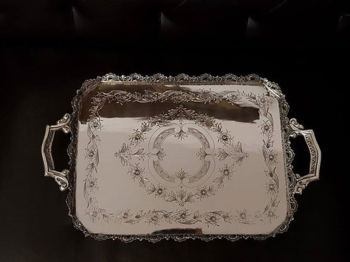 A portuguese sterling silver gallery tray/ Tabuleiro em prata portuguesa