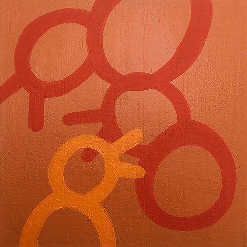 """Orange Birds    •      14"""" x 14"""""""