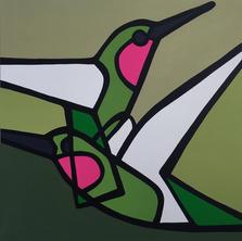 Hummingbirds In Flight  •  24x24