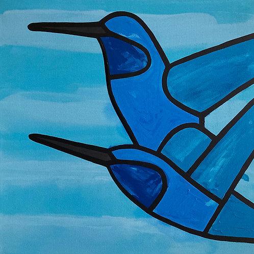 """Hummingbirds in Flight    •      24"""" x 24"""""""