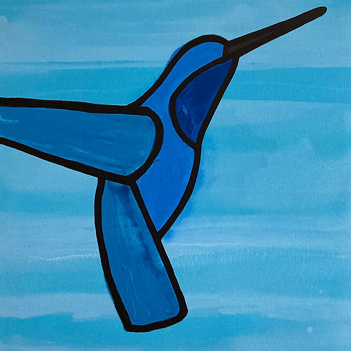 "Hummingbird in Flight    •      24"" x 24"""