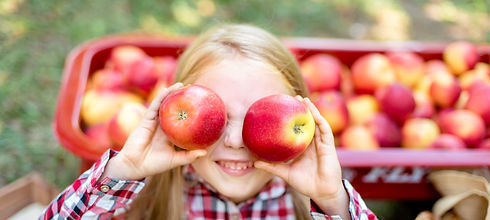Girl with Apple holding in front of her face in the Apple Orchard. Beautiful Girl Eating O