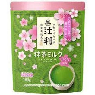 Sakura matcha tea drink