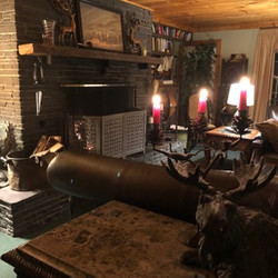 Great room fireplace close to moose