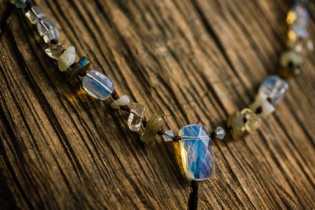 Opalite & Labradorite collar necklace