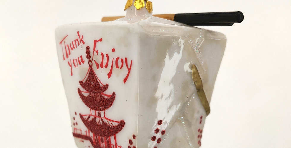 Chinese Takeout White Box Ornament