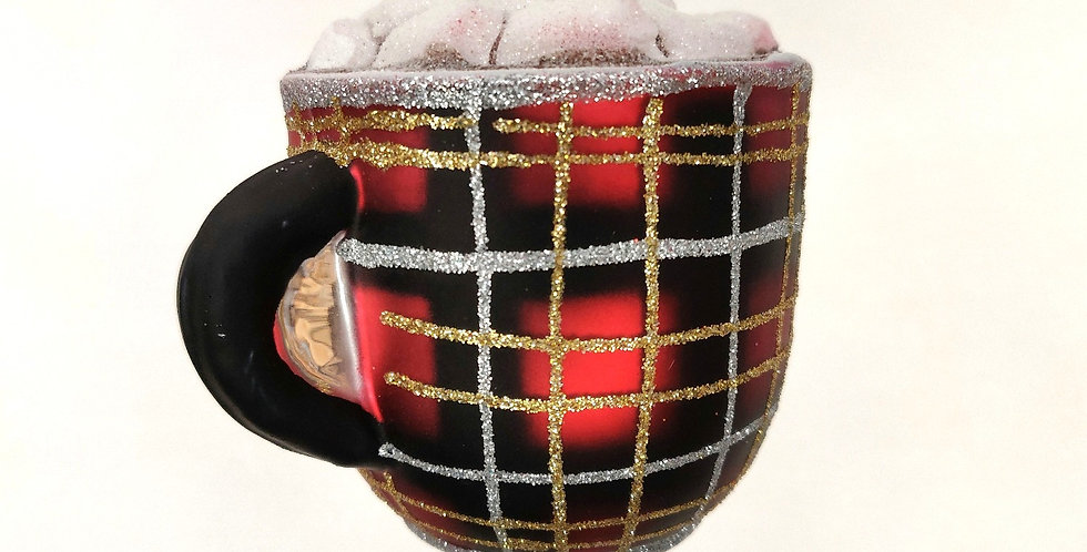 Red Plaid Cocoa Mug Ornament