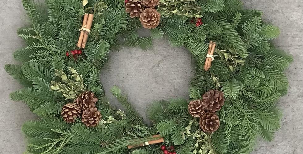 "24"" Hand Tied Cinnamon Spice Wreath"