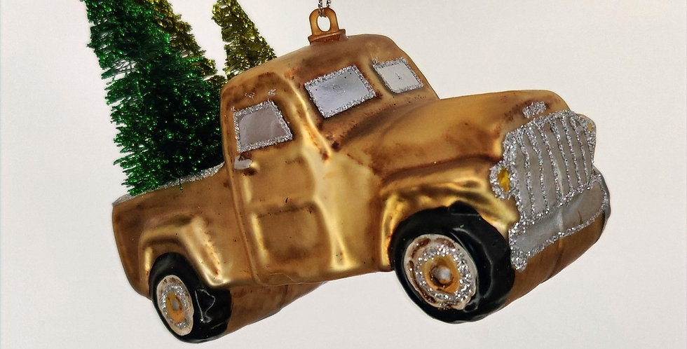 Gold Pickup with 3 Trees Ornament