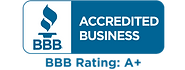 Better Business Bureau A+ rating Acredited Business logo