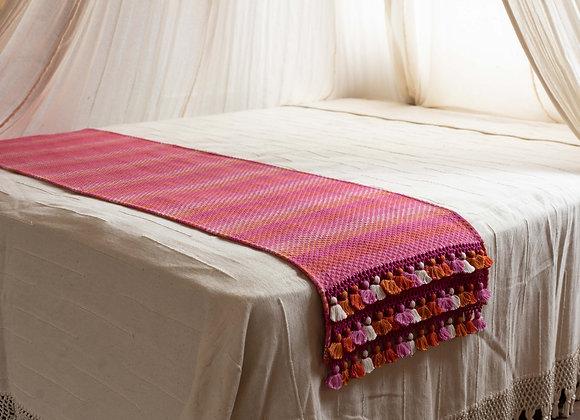 Pie de cama, flecos de 3 filas