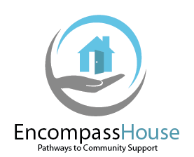 The Encompass House logo: A picture of a hand with an open palm holding a house with text: Encompass House Pathways to Community Support