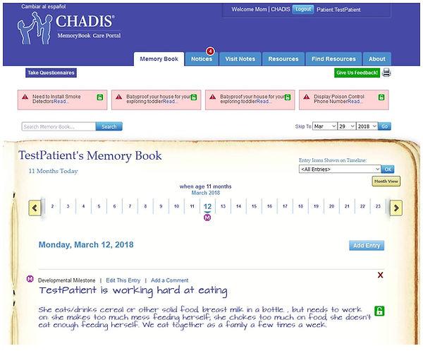 CHADIS memorybook care portal