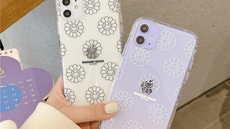 Simple Sun Flower Painting Phone Case for Iphone 11 Pro Max 7 8 Plus X XR XS Max