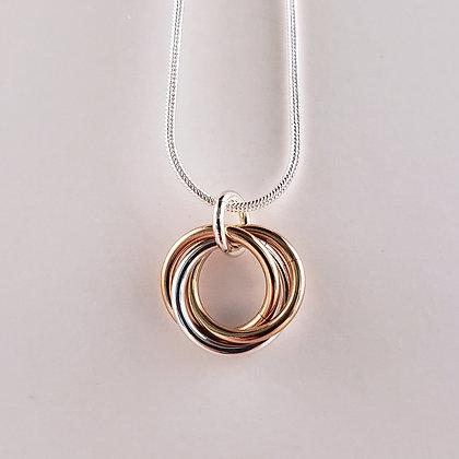 #P822 Mobius Pendant, Rose/Silver