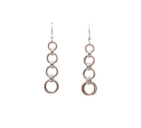 #E824 2 in 2 Graduated Earrings, Rose/Silver