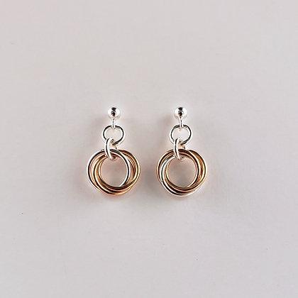 #E822 Mobius Earrings, Rose/Silver