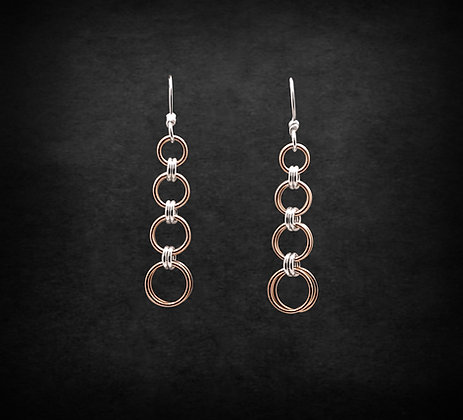 2 in 2 Silver & Rose Gold Earrings