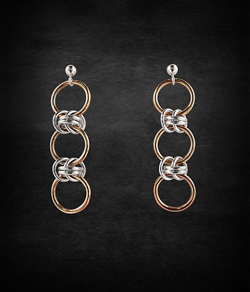 Dainty Barrel Earring Rose Gold & Silver
