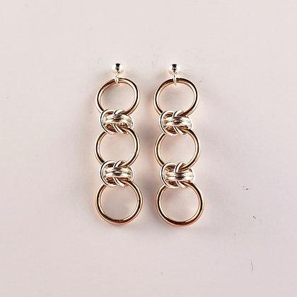 #E812 Dainty Barrel Earrings, Rose/Silver