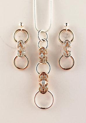 #S910 Dainty Byzantine Set, Rose/Silver