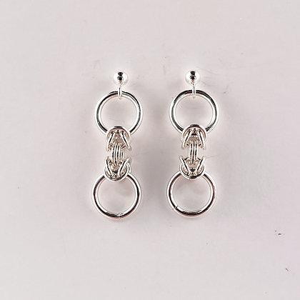 #E909 Danty Byzantine Earrings, Silver