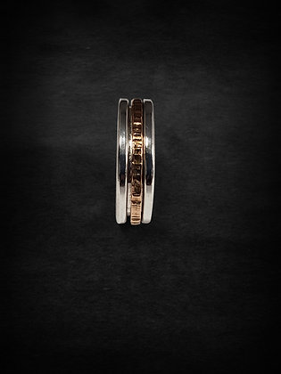 Silver & Rose Gold Single  Meditation Ring