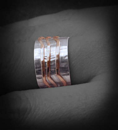 Silver Textured Band with Rose Gold wire