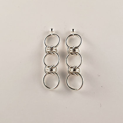 #E811 Dainty Barrel Earrings Silver