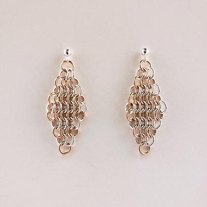 #E814 Euro 4 in 1 Earrings, Rose/Silver
