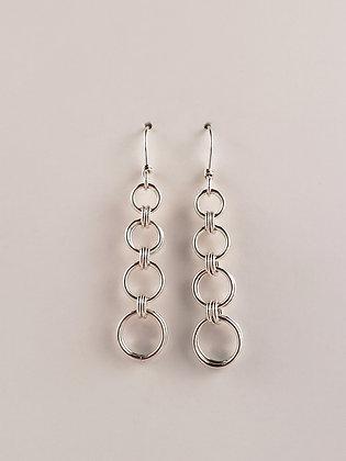 #E823 2 in 2 Graduated Earrings, Silver