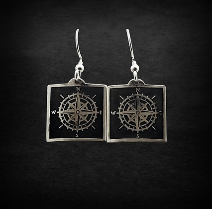 Compass Square Earrings