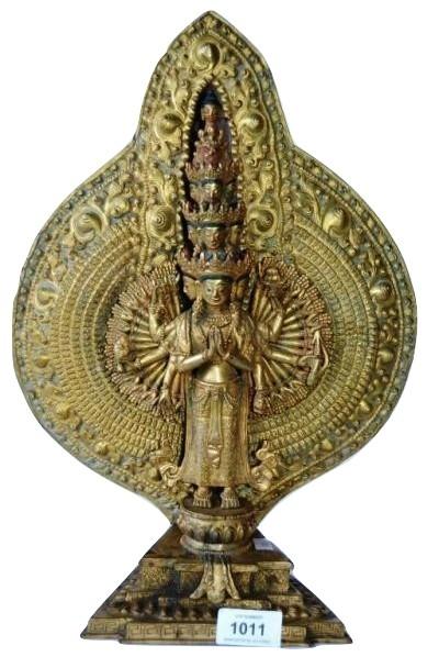 Chinese gilt bronze 100 arm Guan Yin