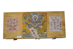 Chinese gold coloured material bound scroll box