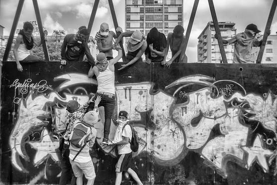 Manifestantes en los alrededores de Altamira. Caracas 2017