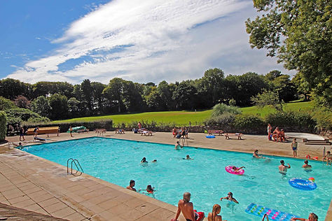 Trewan Hall campsite's 25m swimming pool in sunny Cornwall